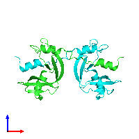 PDB 1h8x coloured by chain and viewed from the front.