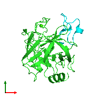 PDB 1h9i coloured by chain and viewed from the top.