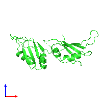 PDB 1ha1 coloured by chain and viewed from the front.
