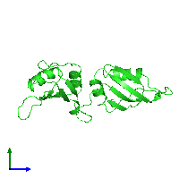 PDB 1ha1 coloured by chain and viewed from the side.