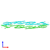 PDB 1hci coloured by chain and viewed from the front.