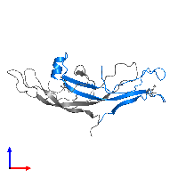 PDB 1hcn contains 1 copy of Glycoprotein hormones alpha chain in assembly 1. This protein is highlighted and viewed from the front.