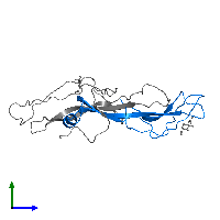PDB 1hcn contains 1 copy of Glycoprotein hormones alpha chain in assembly 1. This protein is highlighted and viewed from the side.