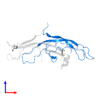 PDB 1hcn contains 1 copy of Choriogonadotropin subunit beta 3 in assembly 1. This protein is highlighted and viewed from the front.