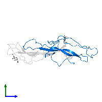PDB 1hcn contains 1 copy of Choriogonadotropin subunit beta 3 in assembly 1. This protein is highlighted and viewed from the side.