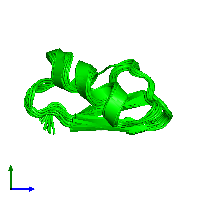 0-meric assembly 1 of PDB entry 1hly coloured by chemically distinct molecules and viewed from the side.