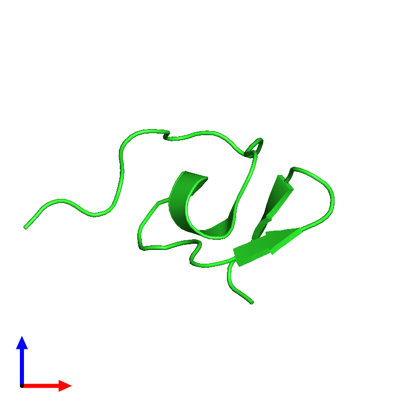 <div class='caption-body'><ul class ='image_legend_ul'>The deposited structure of PDB entry 1hp3 coloured by chain and viewed from the front. The entry contains: <li class ='image_legend_li'>1 copy of Omega-hexatoxin-Hv2a</li><li class ='image_legend_li'>There are no non-polymeric molecules</li></ul></li></ul></li></div>