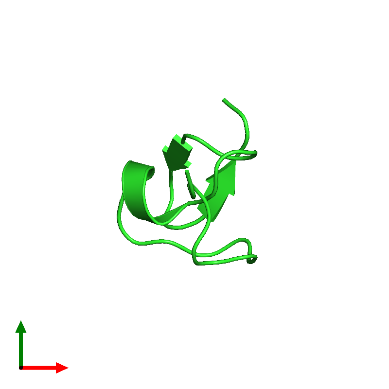 <div class='caption-body'><ul class ='image_legend_ul'>The deposited structure of PDB entry 1hp3 coloured by chain and viewed from the top. The entry contains: <li class ='image_legend_li'>1 copy of Omega-hexatoxin-Hv2a</li><li class ='image_legend_li'>There are no non-polymeric molecules</li></ul></li></ul></li></div>