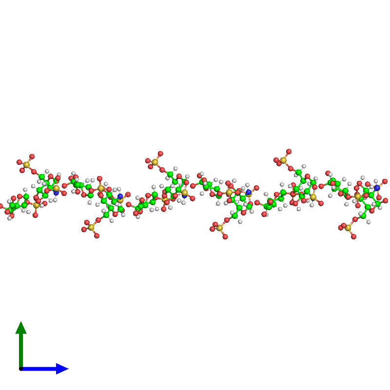 <div class='caption-body'><ul class ='image_legend_ul'> 0-meric assembly 1 of PDB entry 1hpn coloured by chemically distinct molecules and viewed from the side. This assembly contains:<li class ='image_legend_li'>One copy of 2-O-sulfo-alpha-L-idopyranuronic acid-(1-4)-2-deoxy-6-O-sulfo-2-(sulfoamino)-alpha-D-glucopyranose-(1-4)-2-O-sulfo-alpha-L-idopyranuronic acid-(1-4)-2-deoxy-6-O-sulfo-2-(sulfoamino)-alpha-D-glucopyranose-(1-4)-2-O-sulfo-alpha-L-idopyranuronic acid-(1-4)-2-deoxy-6-O-sulfo-2-(sulfoamino)-alpha-D-glucopyranose-(1-4)-2-O-sulfo-alpha-L-idopyranuronic acid-(1-4)-2-deoxy-6-O-sulfo-2-(sulfoamino)-alpha-D-glucopyranose-(1-4)-2-O-sulfo-alpha-L-idopyranuronic acid-(1-4)-2-deoxy-6-O-sulfo-2-(sulfoamino)-alpha-D-glucopyranose-(1-4)-2-O-sulfo-alpha-L-idopyranuronic acid-(1-4)-2-deoxy-6-O-sulfo-2-(sulfoamino)-alpha-D-glucopyranose</li></ul></div>