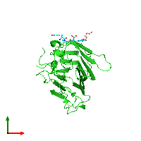 PDB 1hqw coloured by chain and viewed from the top.