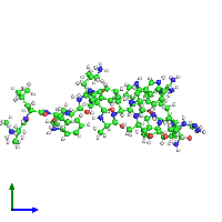 PDB 1hr1 coloured by chain and viewed from the side.