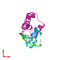 PDB 1hrz coloured by chain and viewed from the top.
