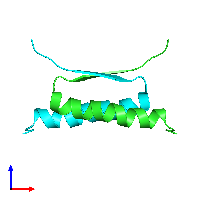 PDB 1hs5 coloured by chain and viewed from the front.