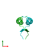 PDB 1hs5 coloured by chain and viewed from the top.