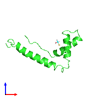 PDB 1hsn coloured by chain and viewed from the front.