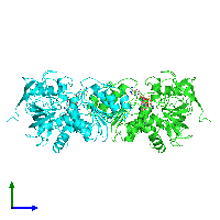 PDB 1hso coloured by chain and viewed from the side.