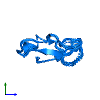 PDB 1i2u contains 1 copy of Defensin heliomicin in assembly 1. This protein is highlighted and viewed from the side.