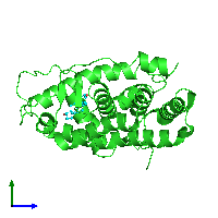 PDB 1i38 coloured by chain and viewed from the side.