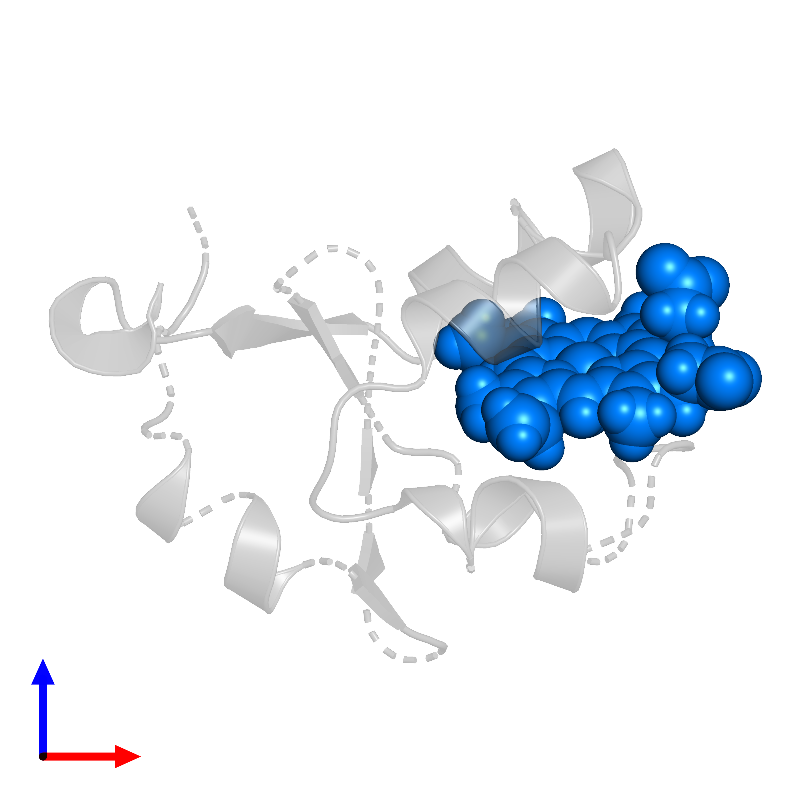 <div class='caption-body'>PDB entry 1i5u contains 1 copy of PROTOPORPHYRIN IX CONTAINING FE in assembly 1. This small molecule is highlighted and viewed from the front.</div>
