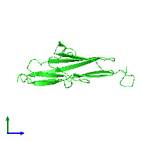 PDB 1ie5 coloured by chain and viewed from the side.