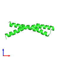 PDB 1ijp coloured by chain and viewed from the front.