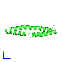 PDB 1ijp coloured by chain and viewed from the side.
