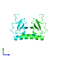 PDB 1il8 coloured by chain and viewed from the side.