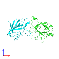 PDB 1ilr coloured by chain and viewed from the front.