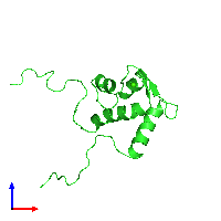 PDB 1iq3 coloured by chain and viewed from the front.