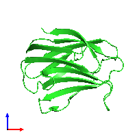 PDB 1is5 coloured by chain and viewed from the front.