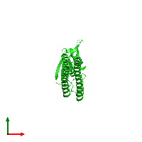 PDB 1ise coloured by chain and viewed from the top.