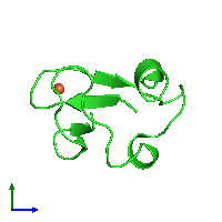 PDB 1iu5 coloured by chain and viewed from the side.