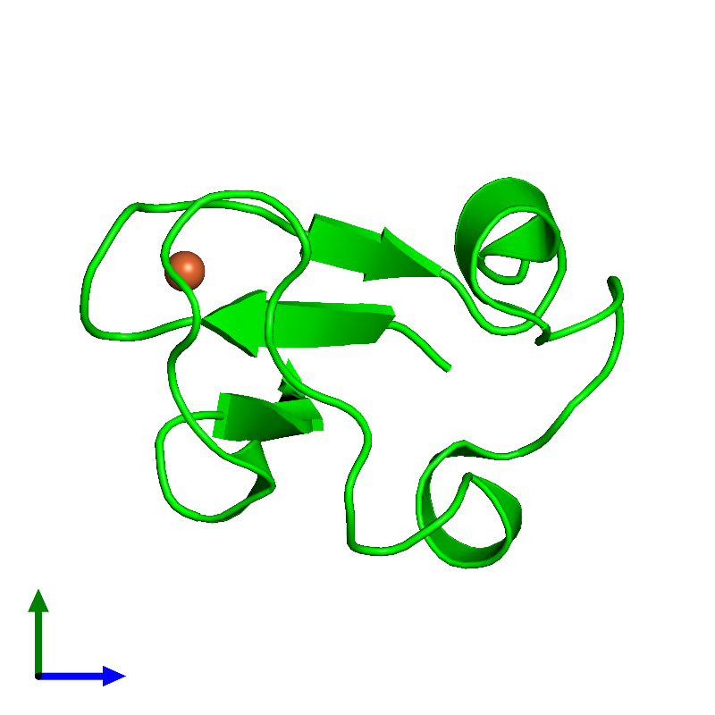 <div class='caption-body'><ul class ='image_legend_ul'>The deposited structure of PDB entry 1iu6 coloured by chemically distinct molecules and viewed from the side. The entry contains: <li class ='image_legend_li'>1 copy of Rubredoxin</li><li class ='image_legend_li'>There is 1 non-polymeric molecule<ul class ='image_legend_ul'><li class ='image_legend_li'>1 copy of FE (III) ION</li></ul></li></div>