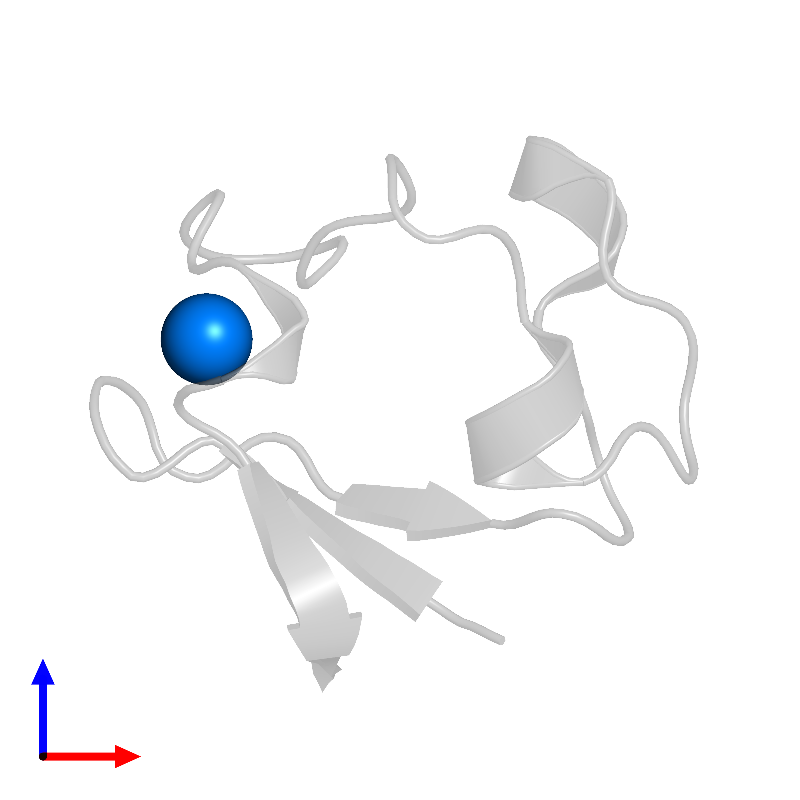 <div class='caption-body'>PDB entry 1iu6 contains 1 copy of FE (III) ION in assembly 1. This small molecule is highlighted and viewed from the front.</div>