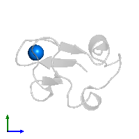 PDB 1iu6 contains 1 copy of FE (III) ION in assembly 1. This small molecule is highlighted and viewed from the side.