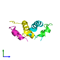 PDB 1iza coloured by chain and viewed from the side.