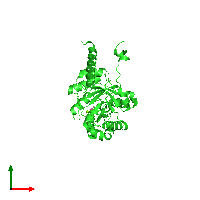 PDB 1izc coloured by chain and viewed from the top.