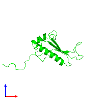 Monomeric assembly 1 of PDB entry 1j26 coloured by chemically distinct molecules and viewed from the front.