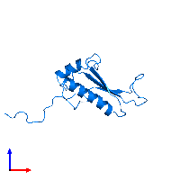 PDB 1j26 contains 1 copy of Peptidyl-tRNA hydrolase ICT1, mitochondrial in assembly 1. This protein is highlighted and viewed from the front.