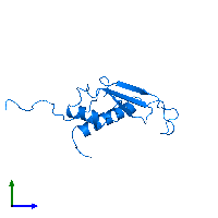 PDB 1j26 contains 1 copy of Peptidyl-tRNA hydrolase ICT1, mitochondrial in assembly 1. This protein is highlighted and viewed from the side.