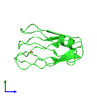 PDB 1j5c coloured by chain and viewed from the side.