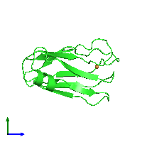 PDB 1j5d coloured by chain and viewed from the side.