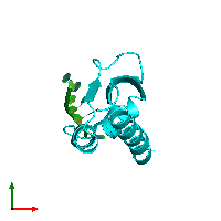 PDB 1j5k coloured by chain and viewed from the top.