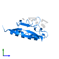 PDB 1j5k contains 1 copy of Heterogeneous nuclear ribonucleoprotein K in assembly 1. This protein is highlighted and viewed from the side.