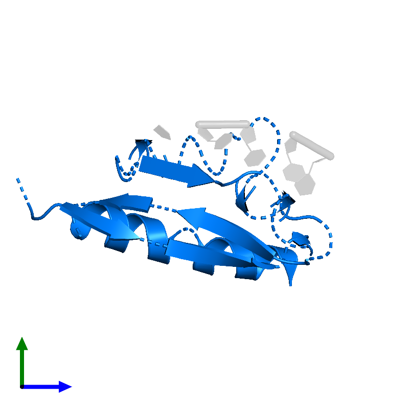 <div class='caption-body'>PDB entry 1j5k contains 1 copy of Heterogeneous nuclear ribonucleoprotein K in assembly 1. This protein is highlighted and viewed from the side.</div>