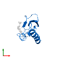PDB 1j5k contains 1 copy of Heterogeneous nuclear ribonucleoprotein K in assembly 1. This protein is highlighted and viewed from the top.