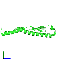 PDB 1j8b coloured by chain and viewed from the side.