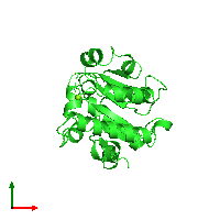 PDB 1jbk coloured by chain and viewed from the top.