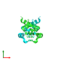 PDB 1jd4 coloured by chain and viewed from the top.