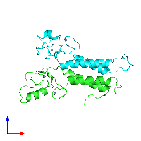 PDB 1jm7 coloured by chain and viewed from the front.
